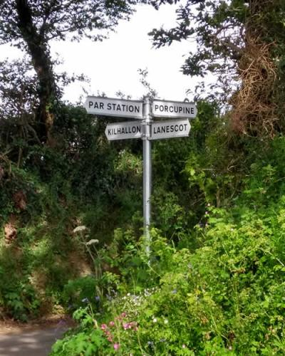 Cornish hedge with signpost